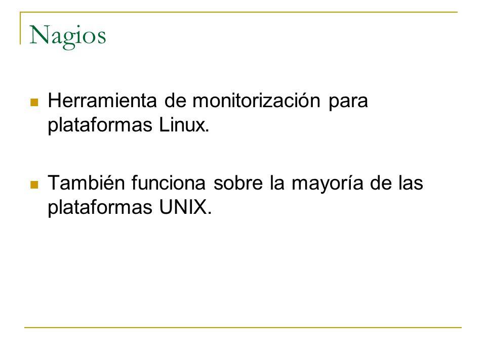 Nagios Herramienta de monitorización para plataformas Linux.