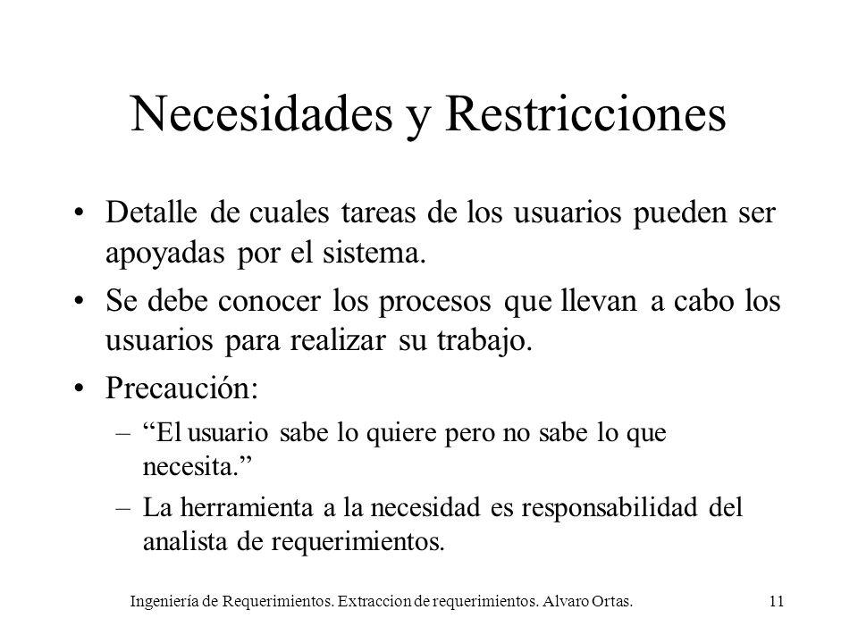Necesidades y Restricciones