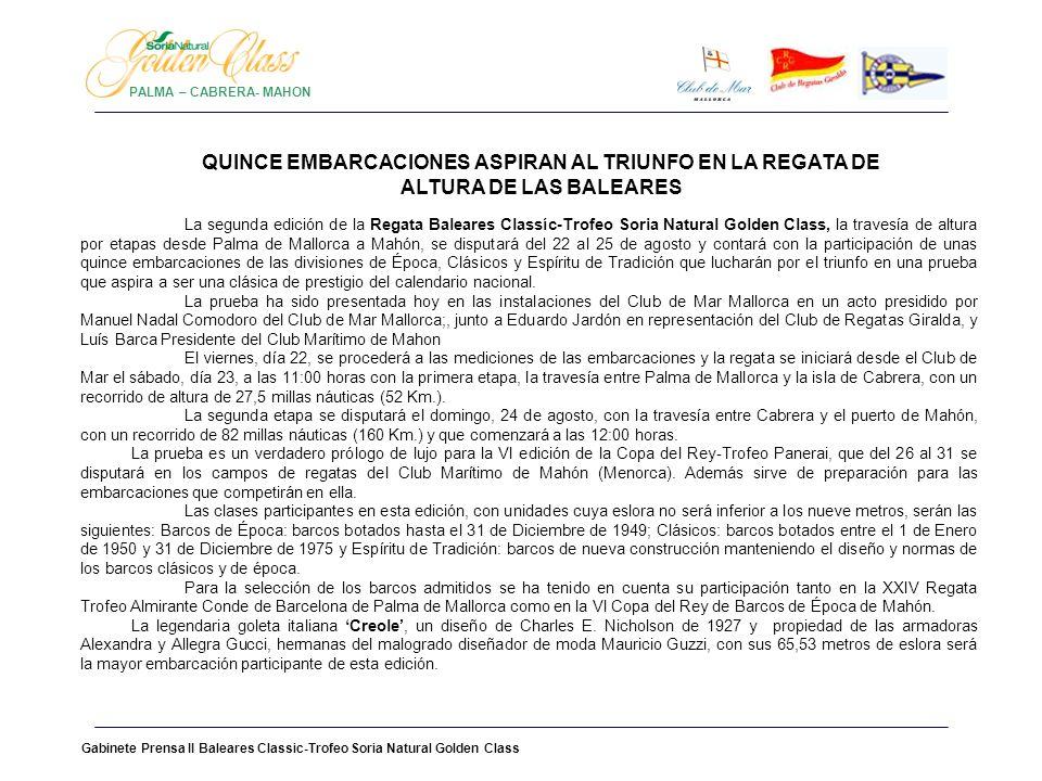 PALMA – CABRERA- MAHON QUINCE EMBARCACIONES ASPIRAN AL TRIUNFO EN LA REGATA DE ALTURA DE LAS BALEARES.