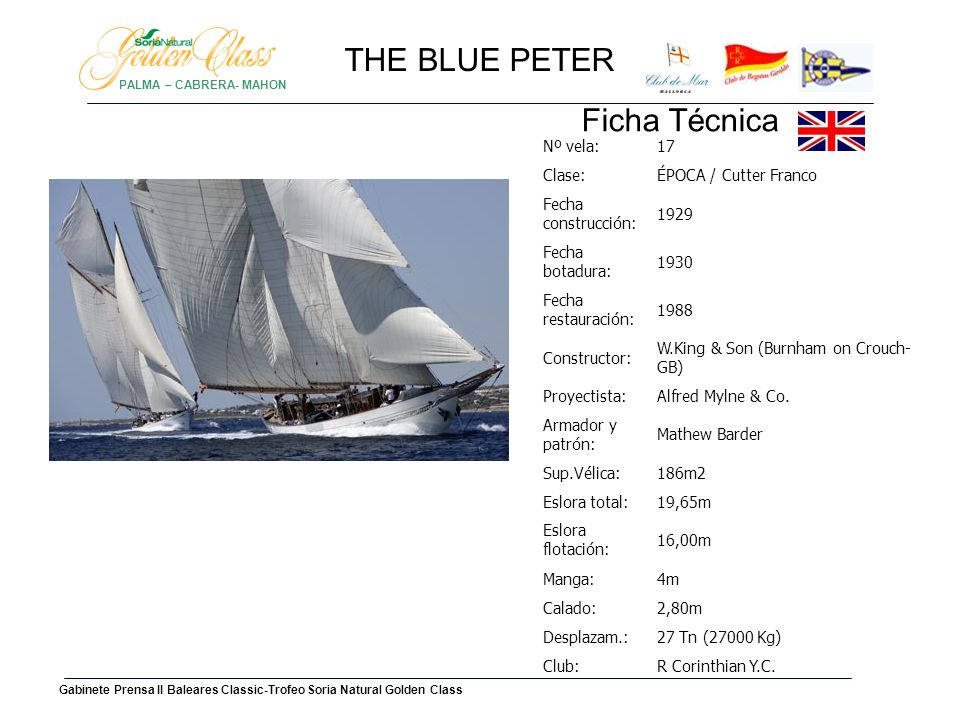 THE BLUE PETER Ficha Técnica Nº vela: 17 Clase: ÉPOCA / Cutter Franco