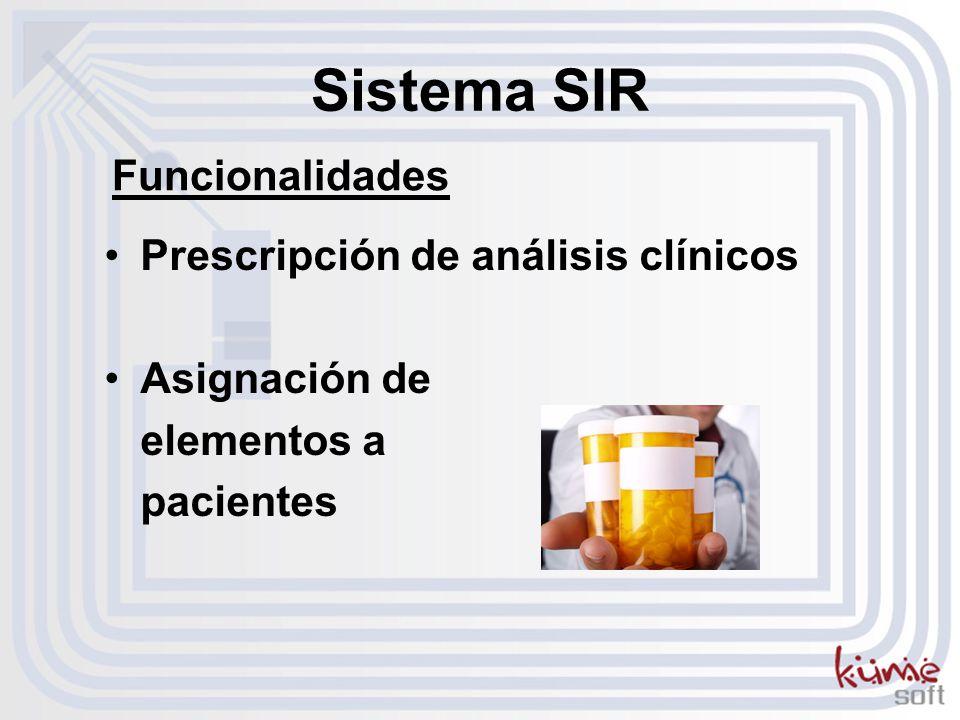 Sistema SIR Funcionalidades Prescripción de análisis clínicos