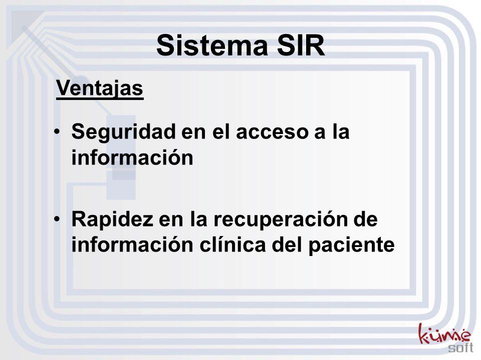 Sistema SIR Ventajas Seguridad en el acceso a la información