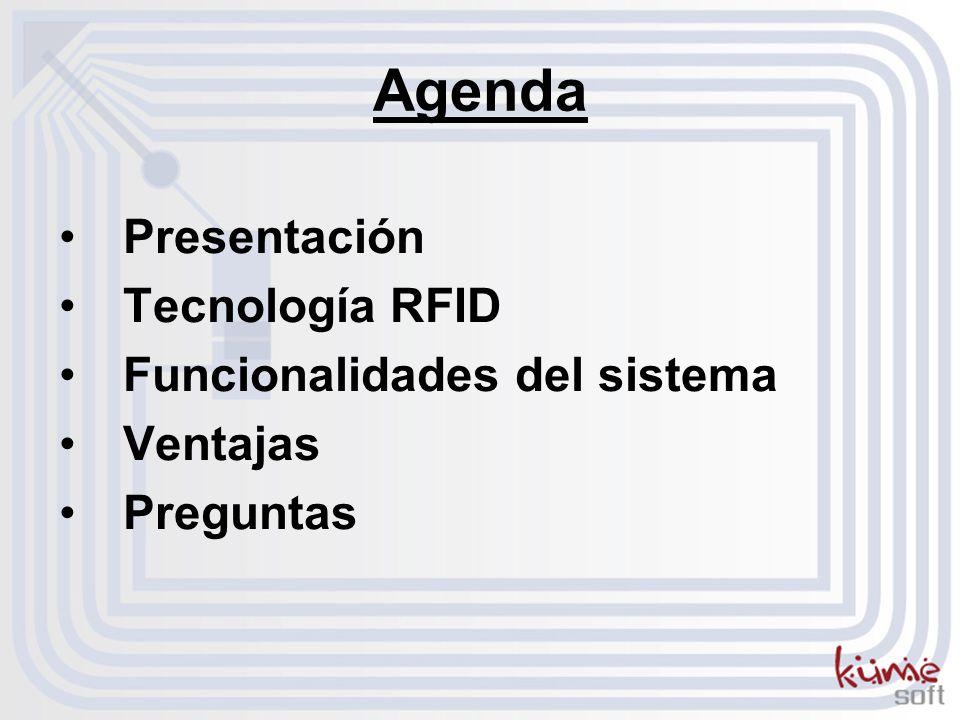 Agenda Presentación Tecnología RFID Funcionalidades del sistema