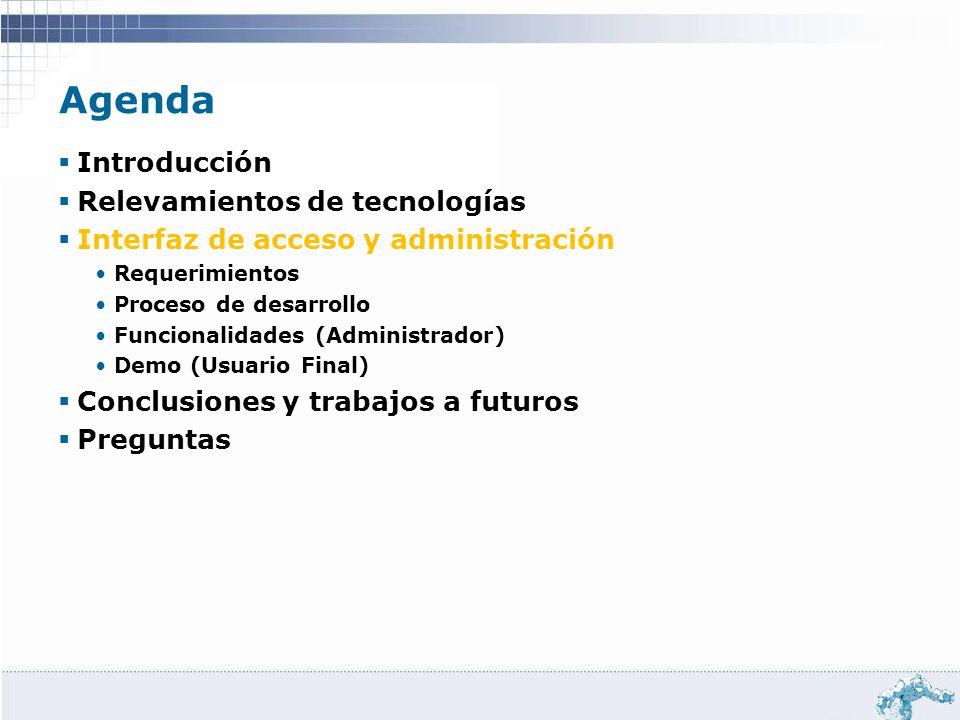 Agenda Introducción Relevamientos de tecnologías