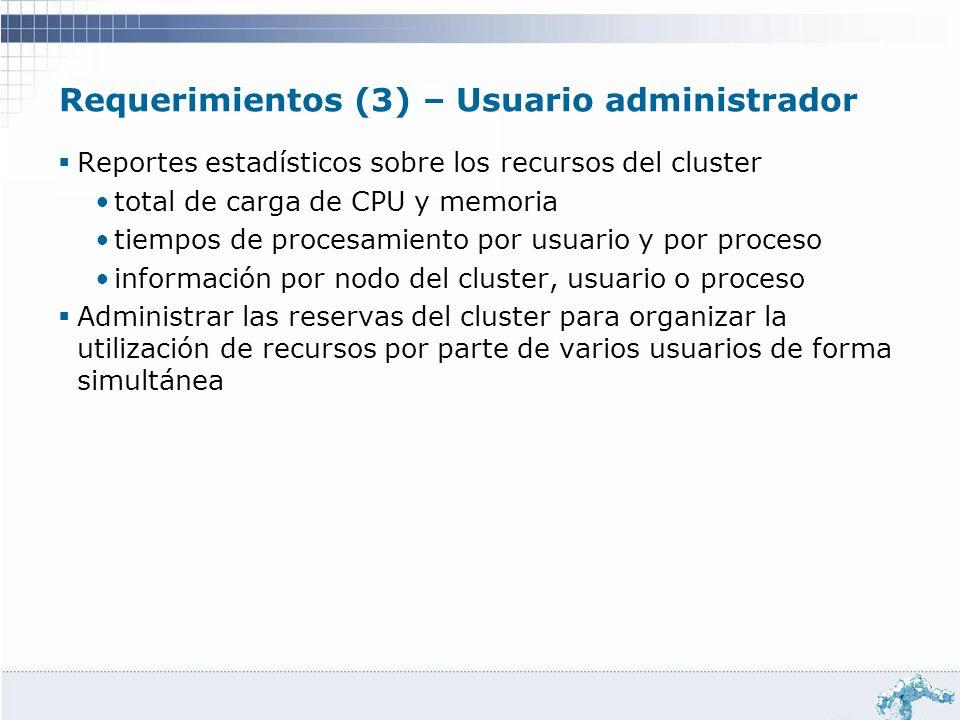 Requerimientos (3) – Usuario administrador