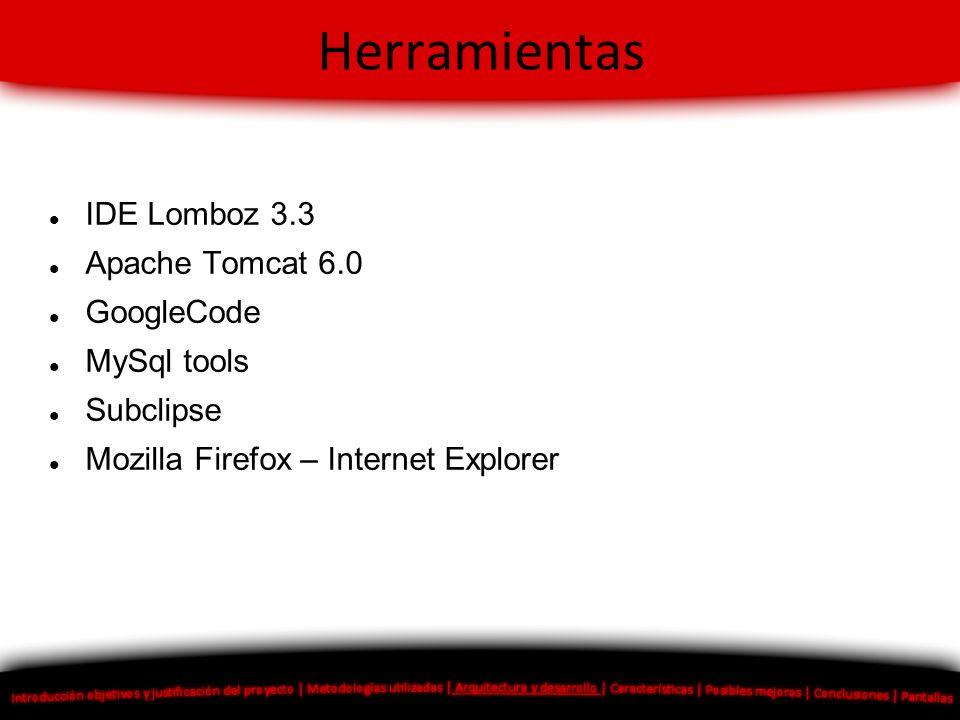 Herramientas IDE Lomboz 3.3 Apache Tomcat 6.0 GoogleCode MySql tools