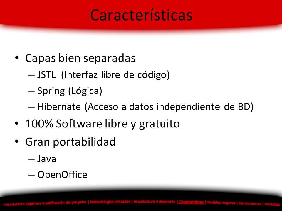Características Capas bien separadas 100% Software libre y gratuito