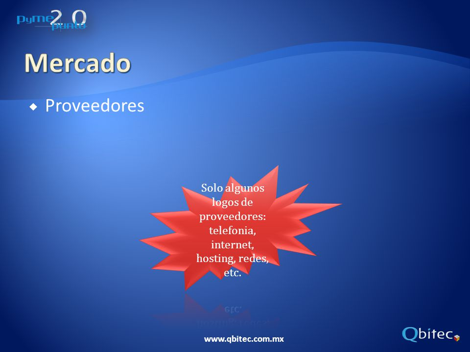 Mercado Proveedores Solo algunos logos de proveedores: telefonia, internet, hosting, redes, etc.