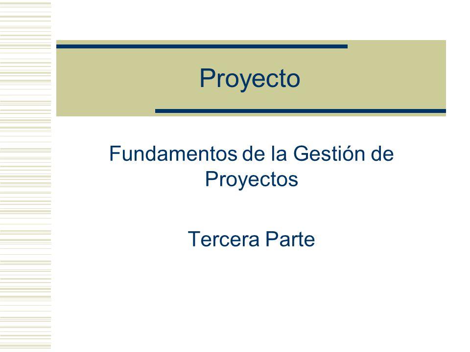 Fundamentos de la Gestión de Proyectos Tercera Parte