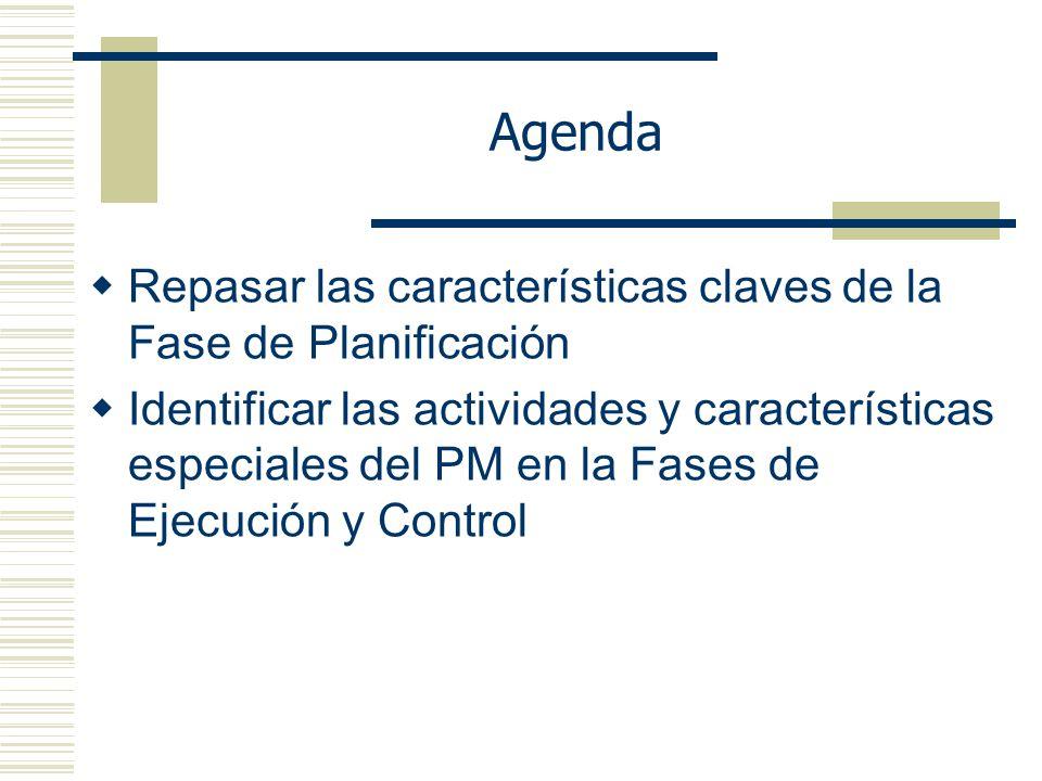 Agenda Repasar las características claves de la Fase de Planificación
