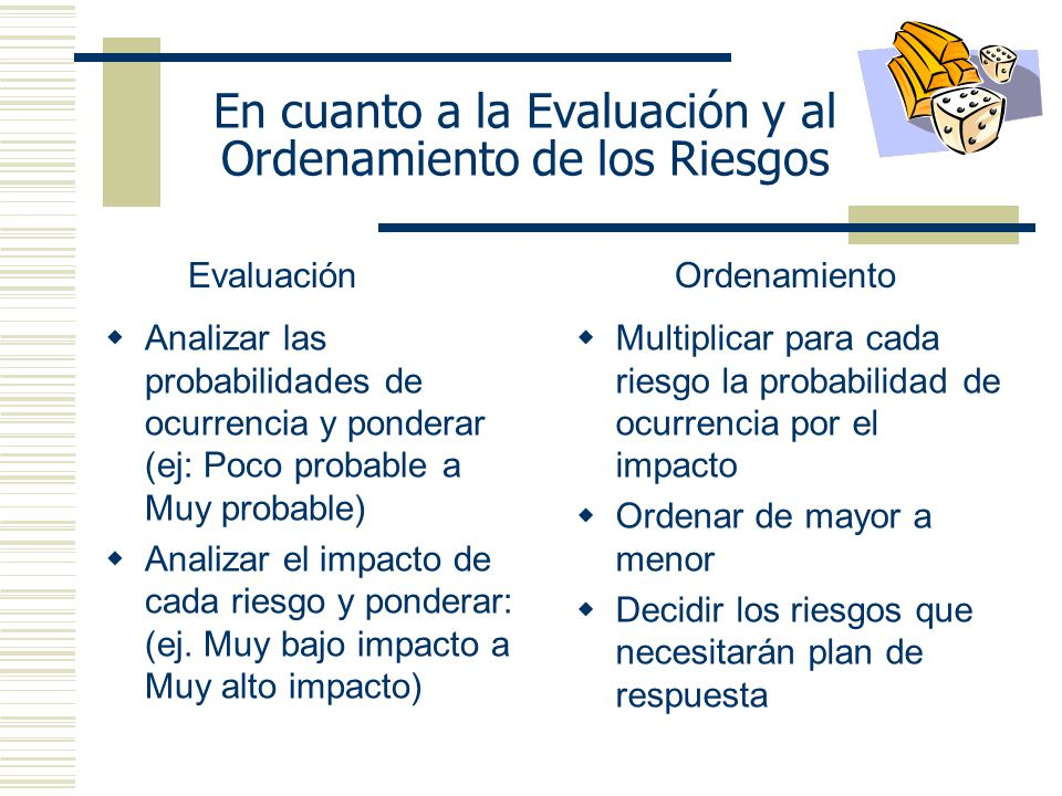 En cuanto a la Evaluación y al Ordenamiento de los Riesgos
