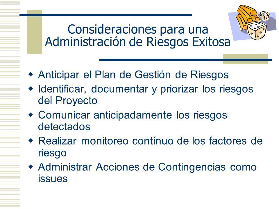 Consideraciones para una Administración de Riesgos Exitosa
