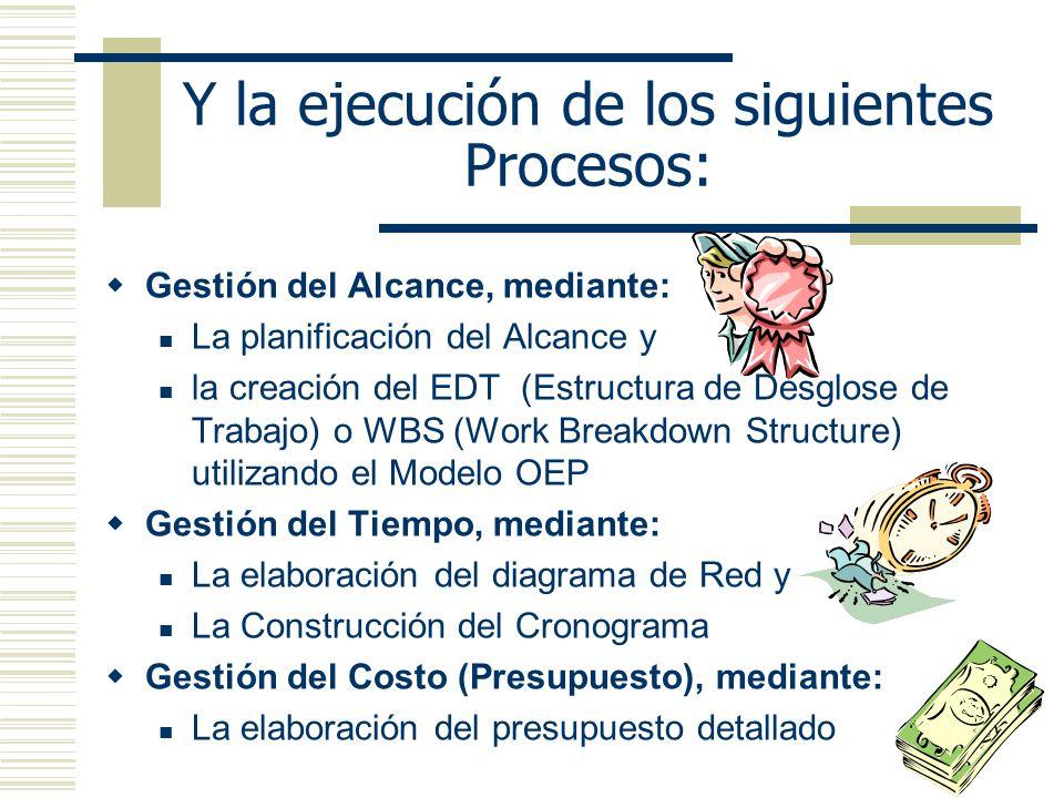 Y la ejecución de los siguientes Procesos: