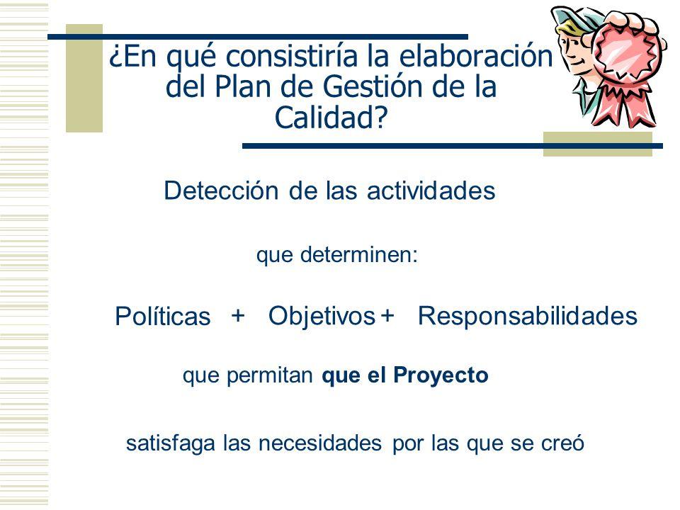 ¿En qué consistiría la elaboración del Plan de Gestión de la Calidad