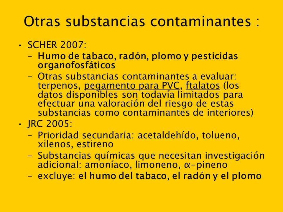 Otras substancias contaminantes :