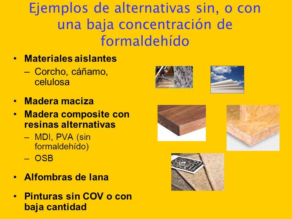 Ejemplos de alternativas sin, o con una baja concentración de formaldehído