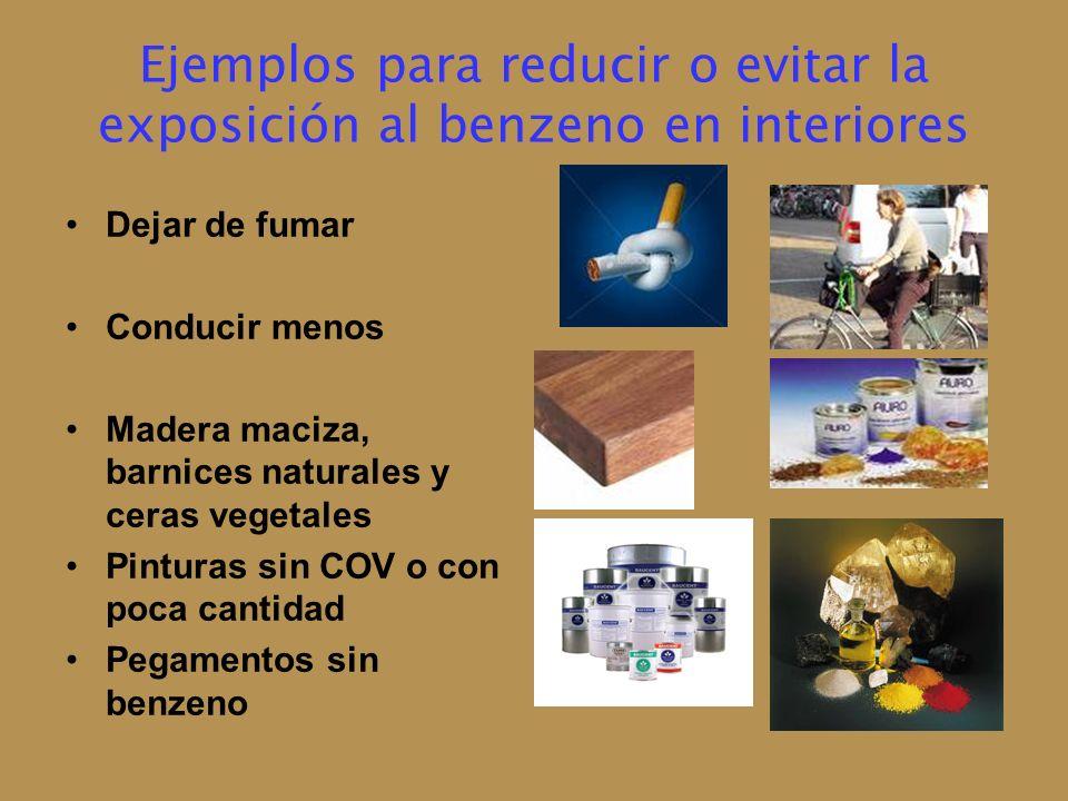 Ejemplos para reducir o evitar la exposición al benzeno en interiores