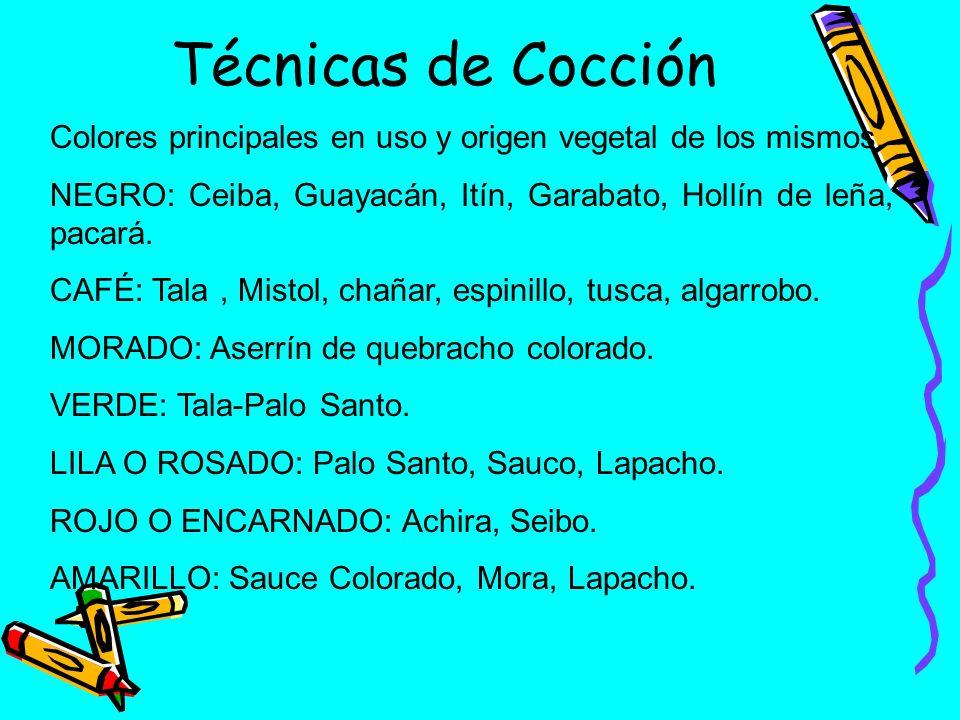 Técnicas de Cocción Colores principales en uso y origen vegetal de los mismos. NEGRO: Ceiba, Guayacán, Itín, Garabato, Hollín de leña, pacará.