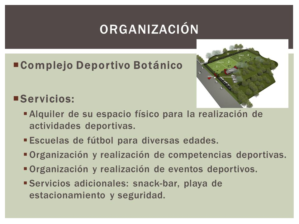 ORGANIZACIÓN Complejo Deportivo Botánico Servicios: