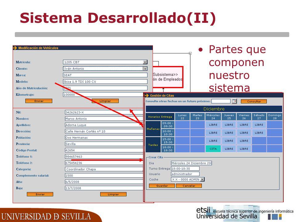 Sistema Desarrollado(II)