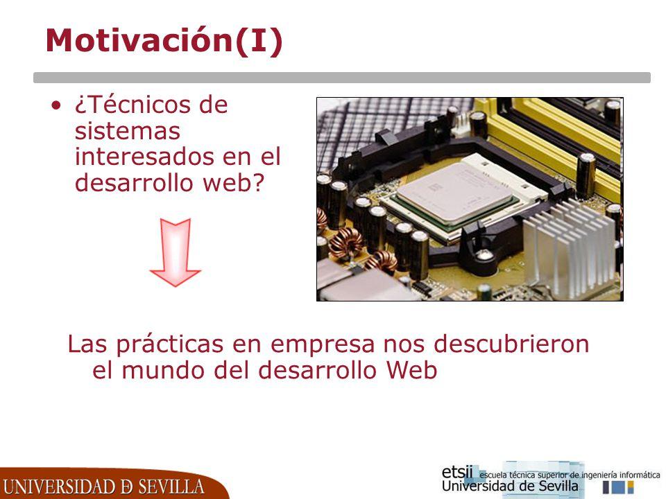 Motivación(I) ¿Técnicos de sistemas interesados en el desarrollo web