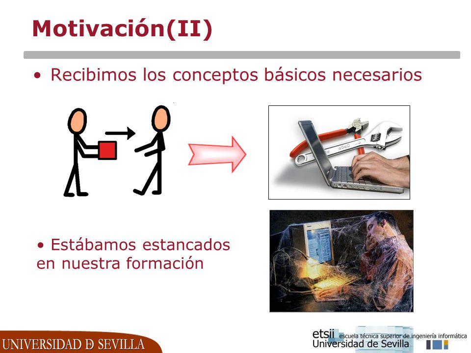 Motivación(II) Recibimos los conceptos básicos necesarios