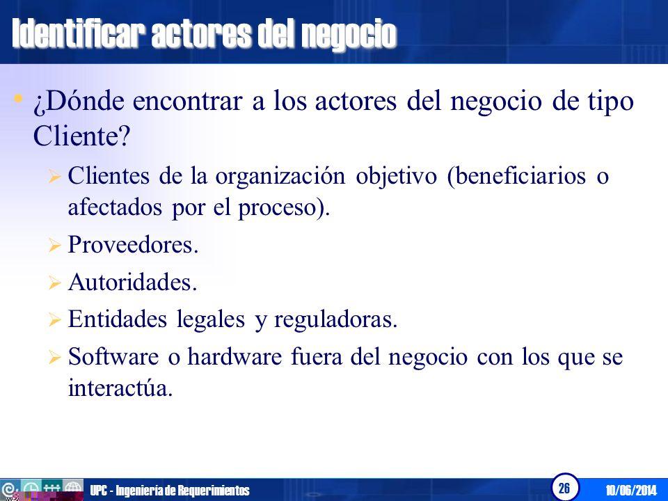 Identificar actores del negocio