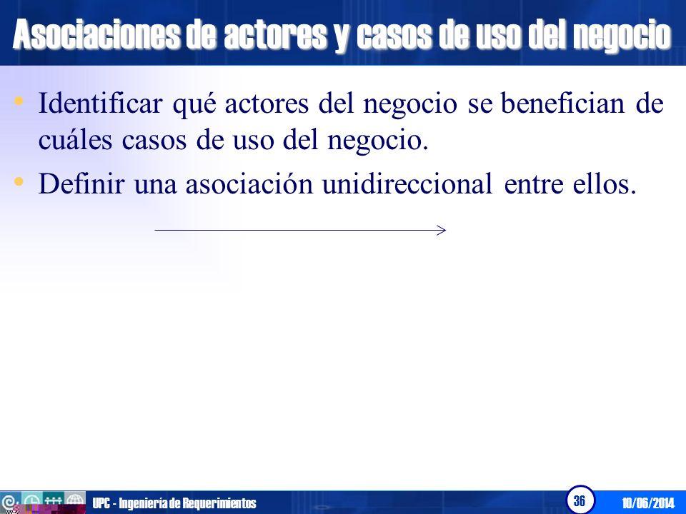 Asociaciones de actores y casos de uso del negocio
