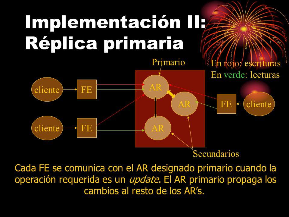 Implementación II: Réplica primaria