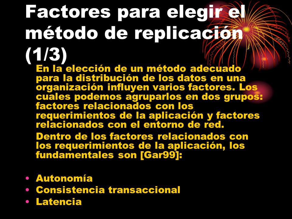 Factores para elegir el método de replicación (1/3)