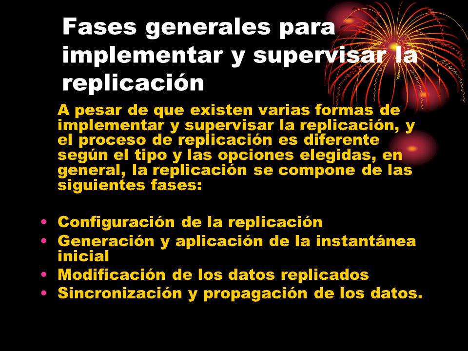 Fases generales para implementar y supervisar la replicación