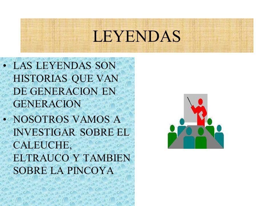 LEYENDAS LAS LEYENDAS SON HISTORIAS QUE VAN DE GENERACION EN GENERACION.