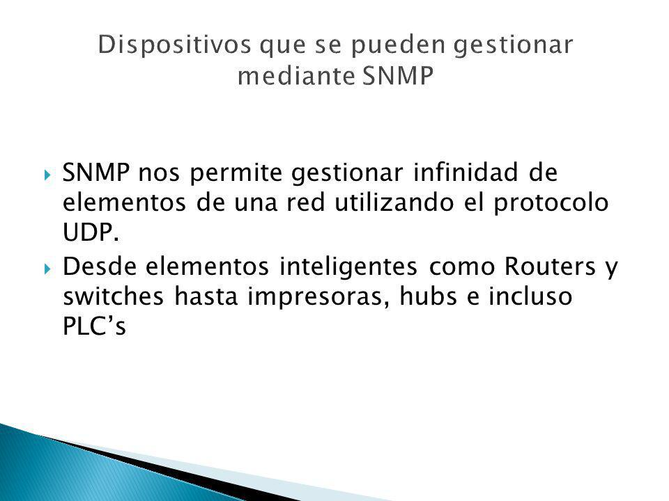 Dispositivos que se pueden gestionar mediante SNMP