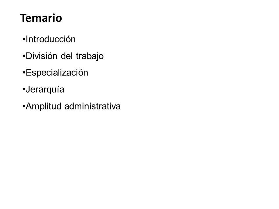 Temario Introducción División del trabajo Especialización Jerarquía