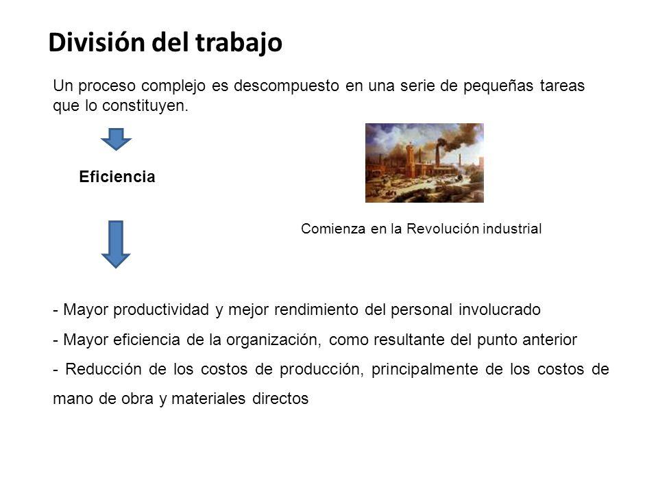 División del trabajo Un proceso complejo es descompuesto en una serie de pequeñas tareas que lo constituyen.