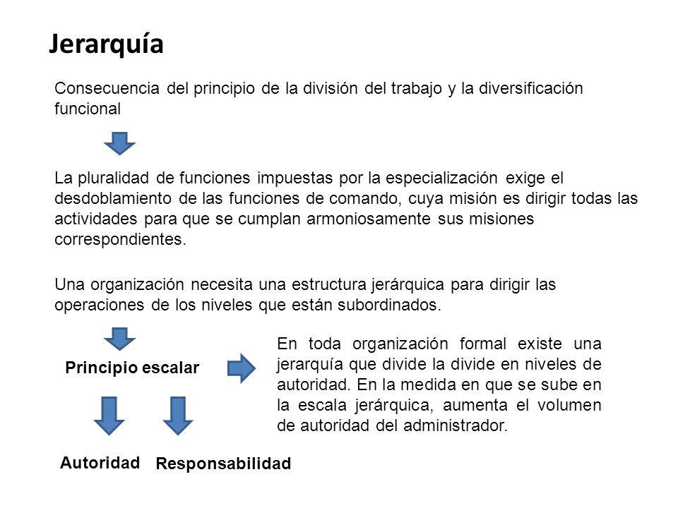 Jerarquía Consecuencia del principio de la división del trabajo y la diversificación funcional.