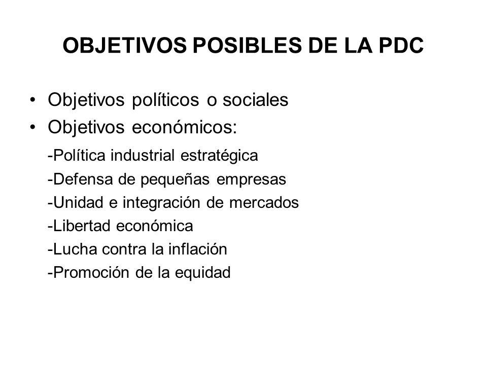 OBJETIVOS POSIBLES DE LA PDC