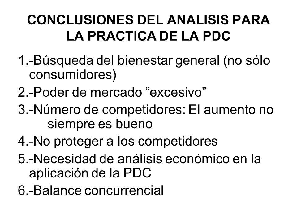 CONCLUSIONES DEL ANALISIS PARA LA PRACTICA DE LA PDC