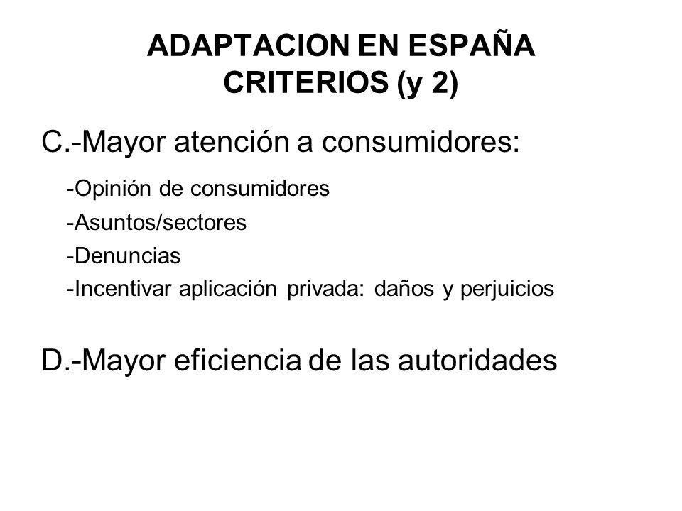ADAPTACION EN ESPAÑA CRITERIOS (y 2)