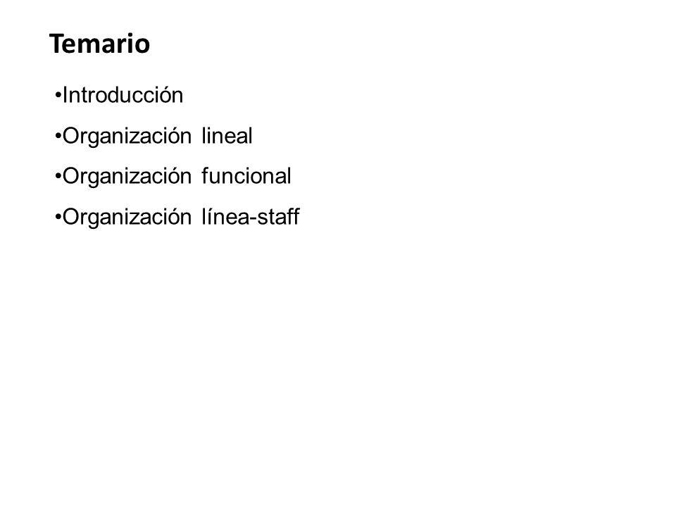 Temario Introducción Organización lineal Organización funcional