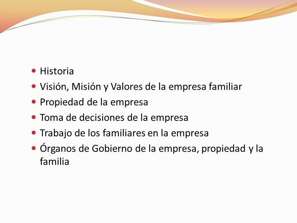 Historia Visión, Misión y Valores de la empresa familiar. Propiedad de la empresa. Toma de decisiones de la empresa.