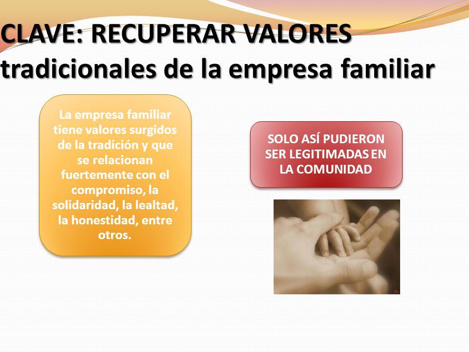 CLAVE: RECUPERAR VALORES tradicionales de la empresa familiar