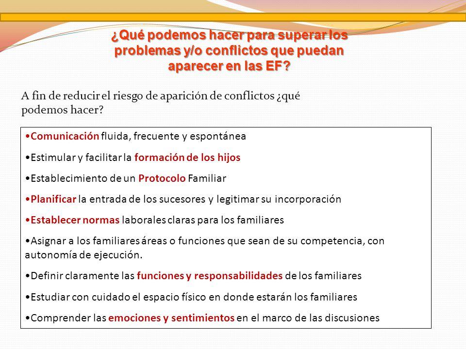 ¿Qué podemos hacer para superar los problemas y/o conflictos que puedan aparecer en las EF