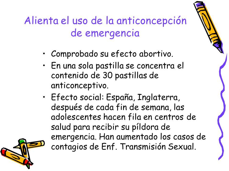 Alienta el uso de la anticoncepción de emergencia