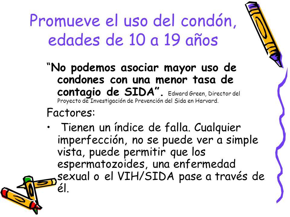 Promueve el uso del condón, edades de 10 a 19 años