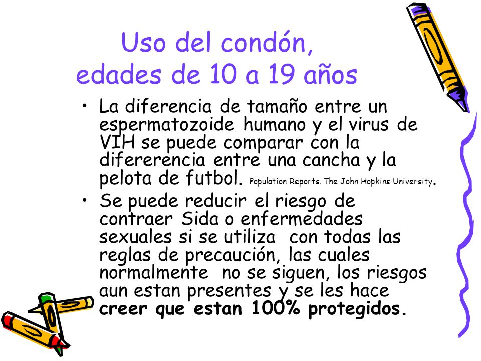 Uso del condón, edades de 10 a 19 años