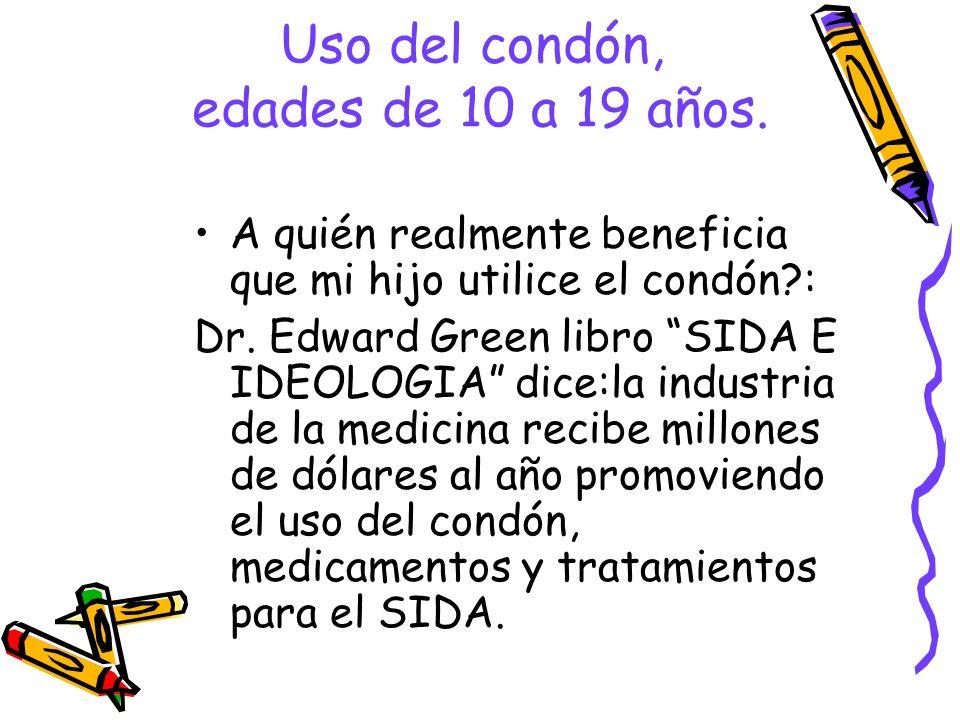 Uso del condón, edades de 10 a 19 años.