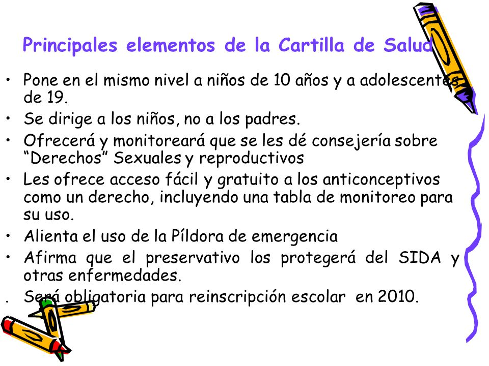 Principales elementos de la Cartilla de Salud