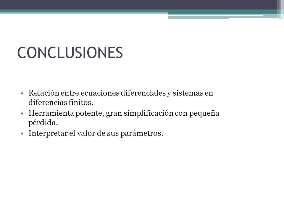 CONCLUSIONES Relación entre ecuaciones diferenciales y sistemas en diferencias finitos.