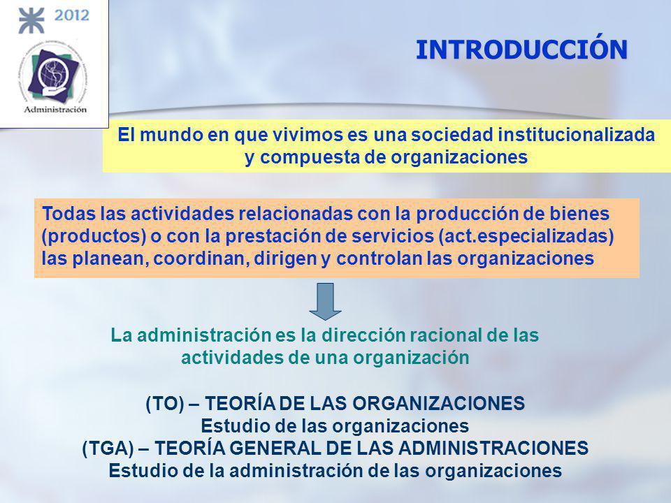 INTRODUCCIÓN El mundo en que vivimos es una sociedad institucionalizada. y compuesta de organizaciones.